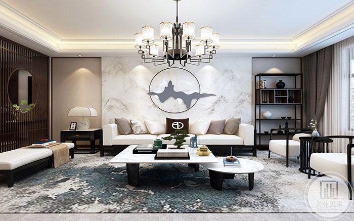 客厅主要是黑白灰的色调,简单大方,右侧有一个中式的栅栏圆窗,十分可爱