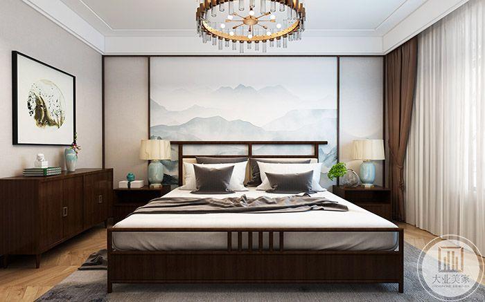 卧床运用木质框架,十分质朴自然