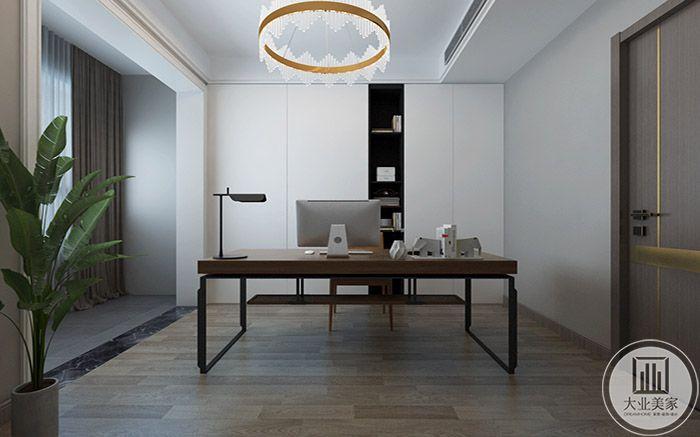 书房布置简单一套木质桌椅