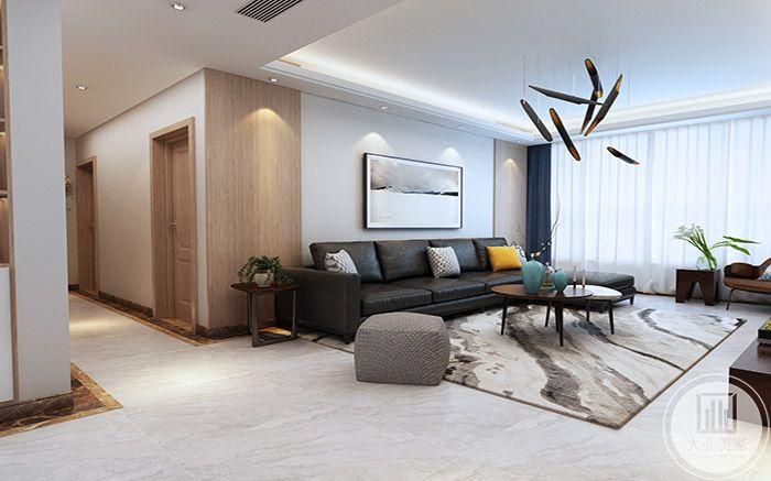 地毯式黑白灰云纹样式的,沙发墙上有浅色的水墨画