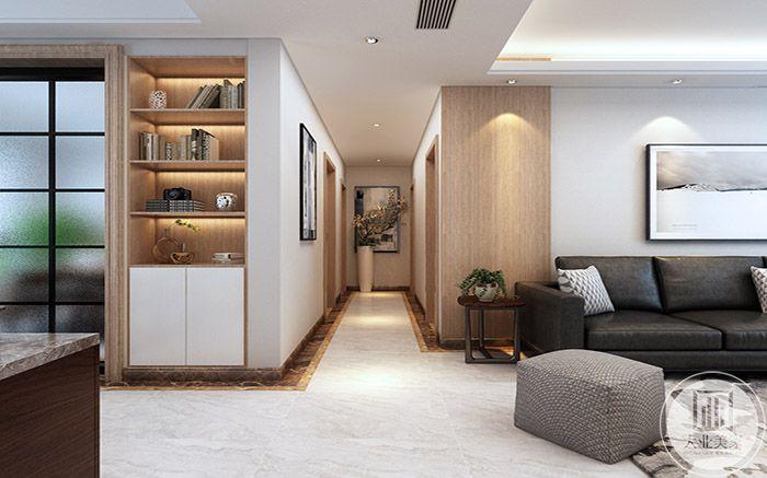 从过道可以看出浅木色也是家里的主色调之一