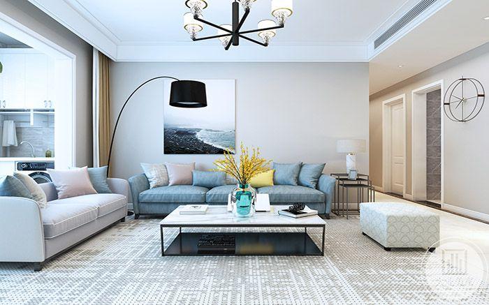 客厅是浅色的马卡龙色调,甜味十足