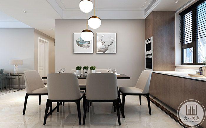 餐厅是一台简约的黑白桌椅