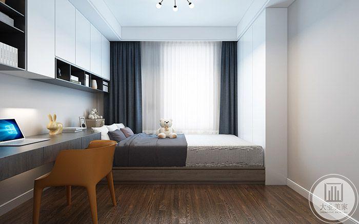 休息区简单可爱,一床一桌一椅,桌子上放还有一排储物架