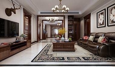 海珀天沅168平大户型四室二厅简约美式装修效果图