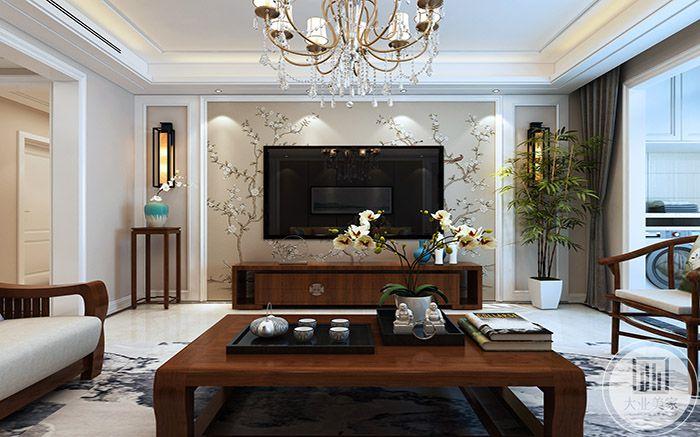 客厅电视墙是梅花纹样的壁纸
