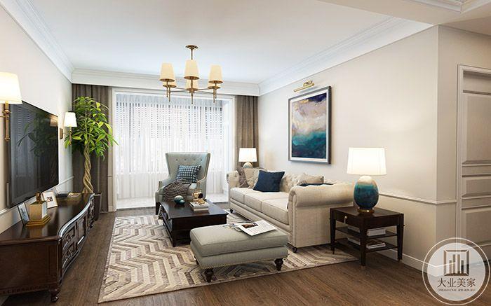 米色系的沙发和地毯充满了柔软感
