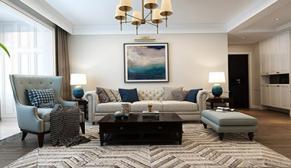 龙湖春江悦茗105平中户型三室两厅美式装修效果图