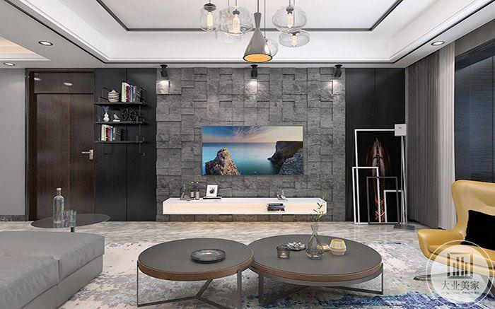 客厅电视墙是石块样式的壁纸,看起来设计感十足