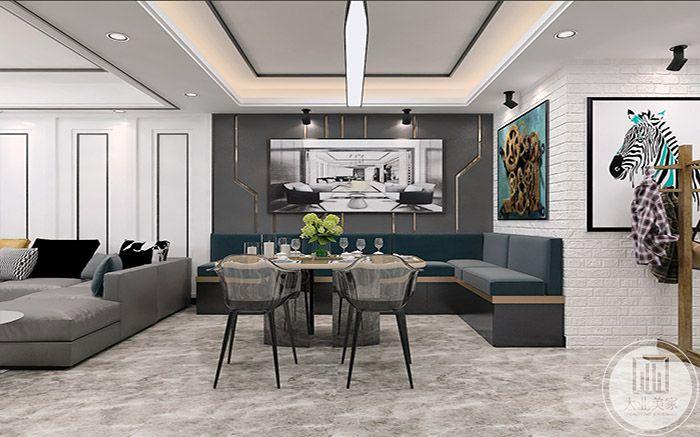 餐厅采用了L型的沙发椅设计,背景墙上是设计感十足的现代艺术画