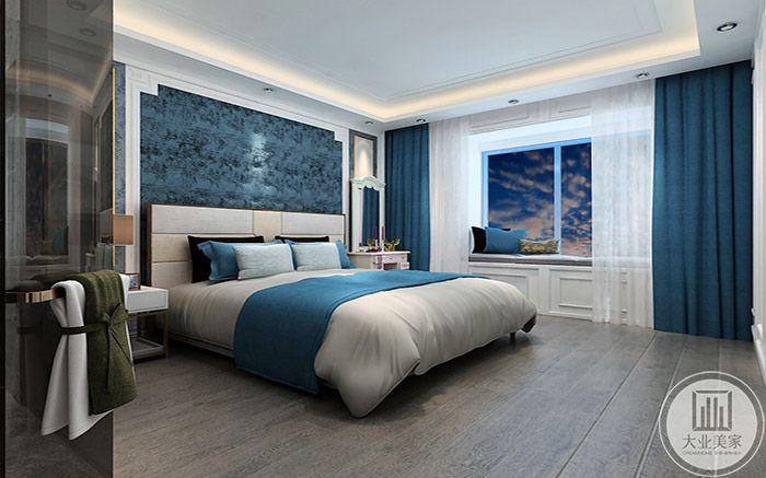 卧室使用了冰蓝色为主色调