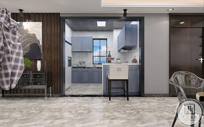 厨房是烟灰色的色调,极具文艺气息