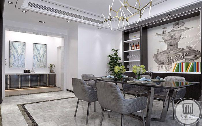 餐厅依旧是浅灰色系的设计,桌椅符合人的舒适观念
