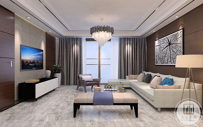 浅灰色的窗帘显示高级的质感,客厅线条流畅自然