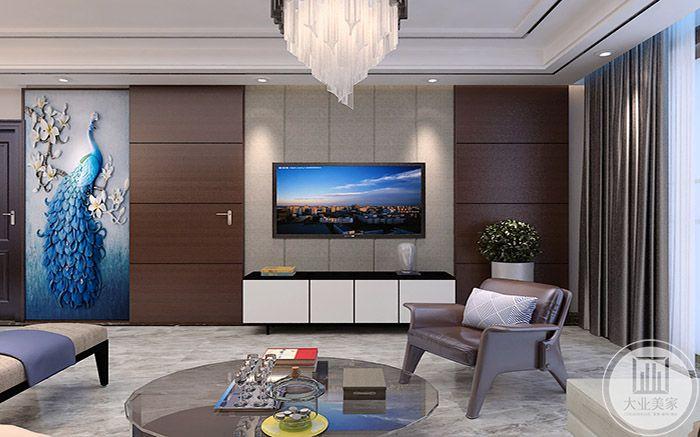 客厅电视墙不知简单,是条纹样式的设置