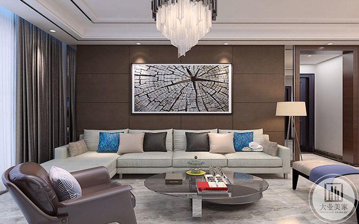 客厅沙发背景墙上有裂痕的现代风格挂画