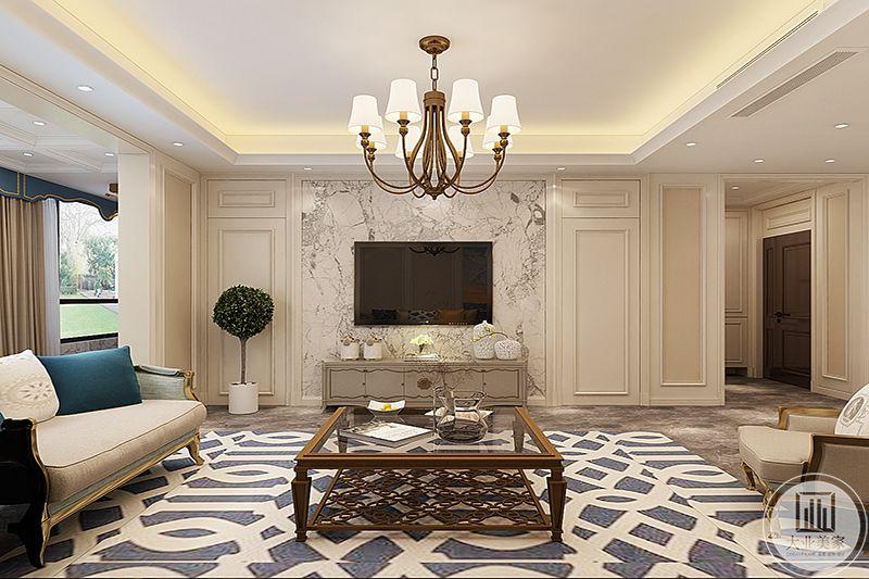 客厅电视墙简单流畅的线条,黑白纹样的壁纸都使客厅显得十分大气