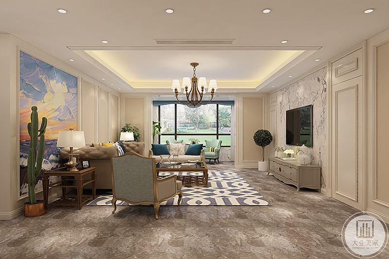 客厅侧视图可以看得到明见的落地窗,浅绿色系的家居是家里显得更加纯粹