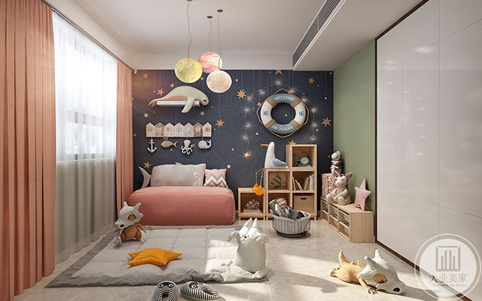 孩子的游戏室是彩虹的色调,色彩鲜艳而又柔和
