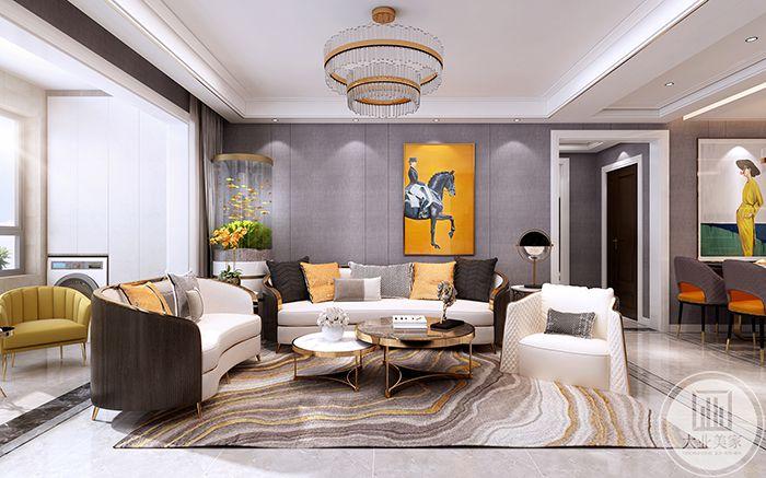 客厅沙发墙是一幅艺术画,明黄的背景,与黄色的抱枕靠垫相呼应