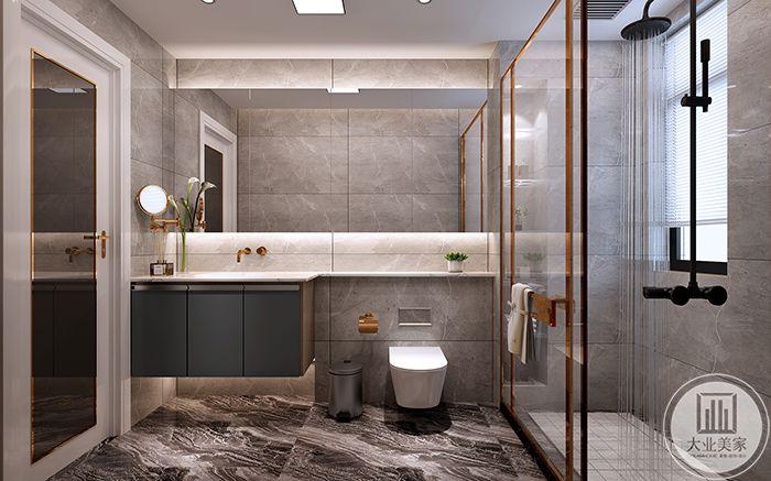 卫浴间主要是白色调间或有金属色彩的装饰