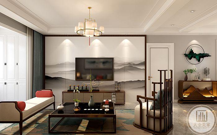 客厅电视墙是泼墨山水,巍巍远山。沙发茶几都是中式特点十足的木制家具