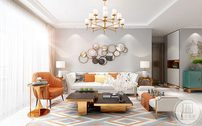 客厅沙发墙以暖色调的橙色为主色调,让人感受到了春夏之际的橘子汁和暖和和的小太阳