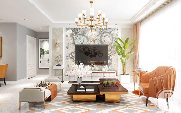 客厅电视墙是银色花纹的白色壁纸,清雅可人,与组合茶几上的小白花相互映衬,美好动人