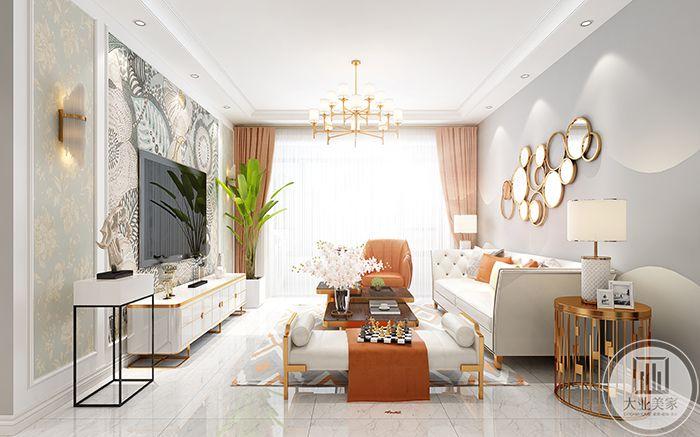 客厅侧视图则是较明显的突出了暖橘的窗帘