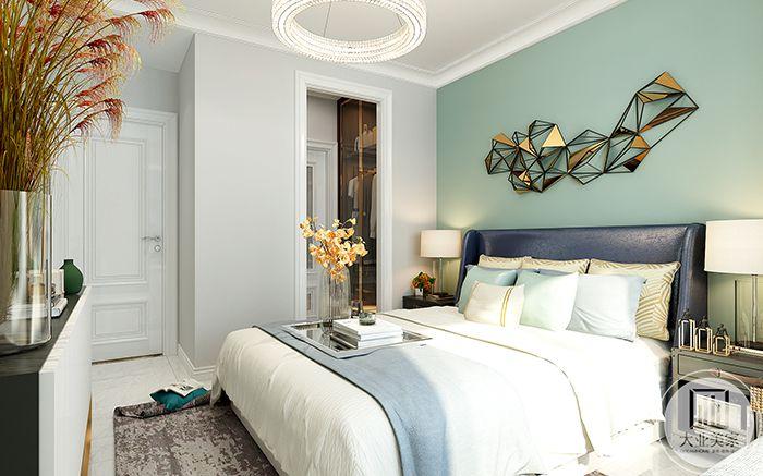 主卧室方案二是清新的草绿色调的自然风格