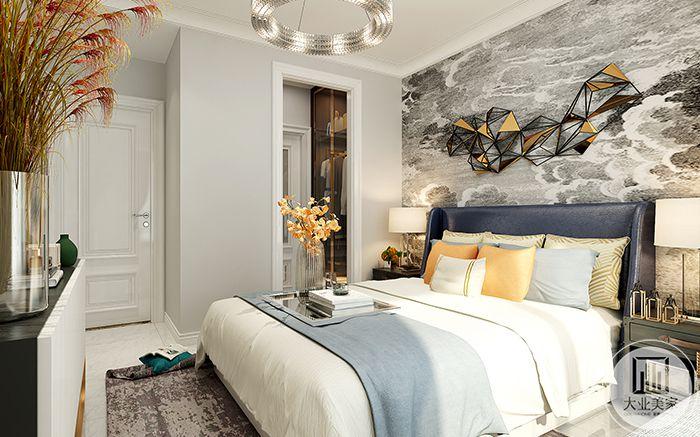 主卧室方案一则是偏向轻奢风格