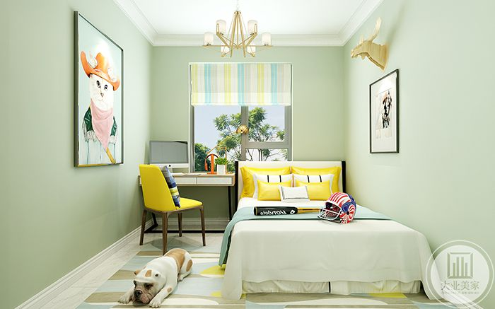 儿童房是清新的暖黄绿色