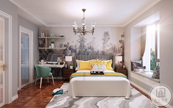 卧室背景墙是一幅淡色的花草图
