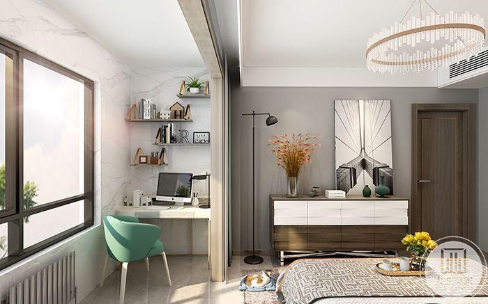 主卧室分成两个空间,一小半的空间放有简单的书桌椅和洗衣机