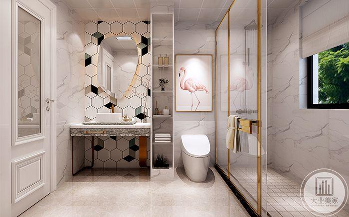 卫浴间镜子采用了六边形的黑白灰格子瓷砖,设计感十足