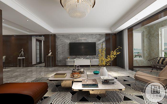 客厅影视墙选择的石材效果,石材和木制的完美结合让整个影视墙给人一种高贵典雅的舒适感。