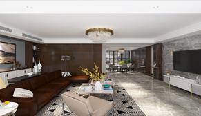 财富壹号160平三室二厅现代轻奢装修效果图