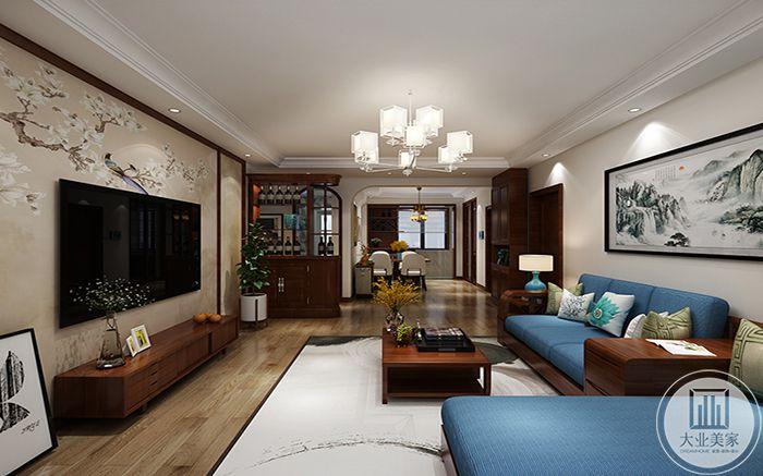 客厅侧视图可以看到客餐厅的整体设计