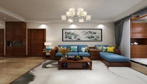 联合云东府145平大户型三室二厅简约中式装修效果图