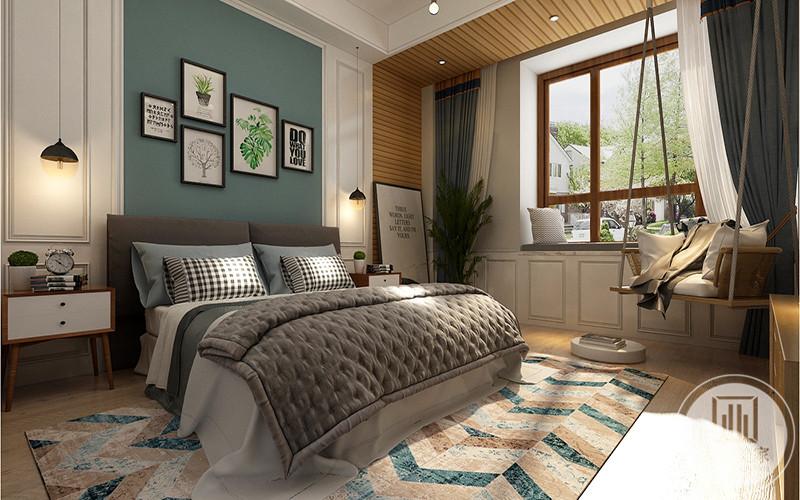 主卧整体是浅灰色调,背景墙则是浅蓝绿色,卧床旁边还设计了一个秋千架