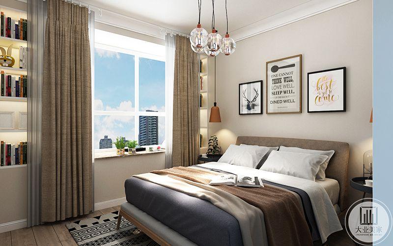 主卧以浅棕褐色为主色调,窗帘和床铺都运用了这种颜色