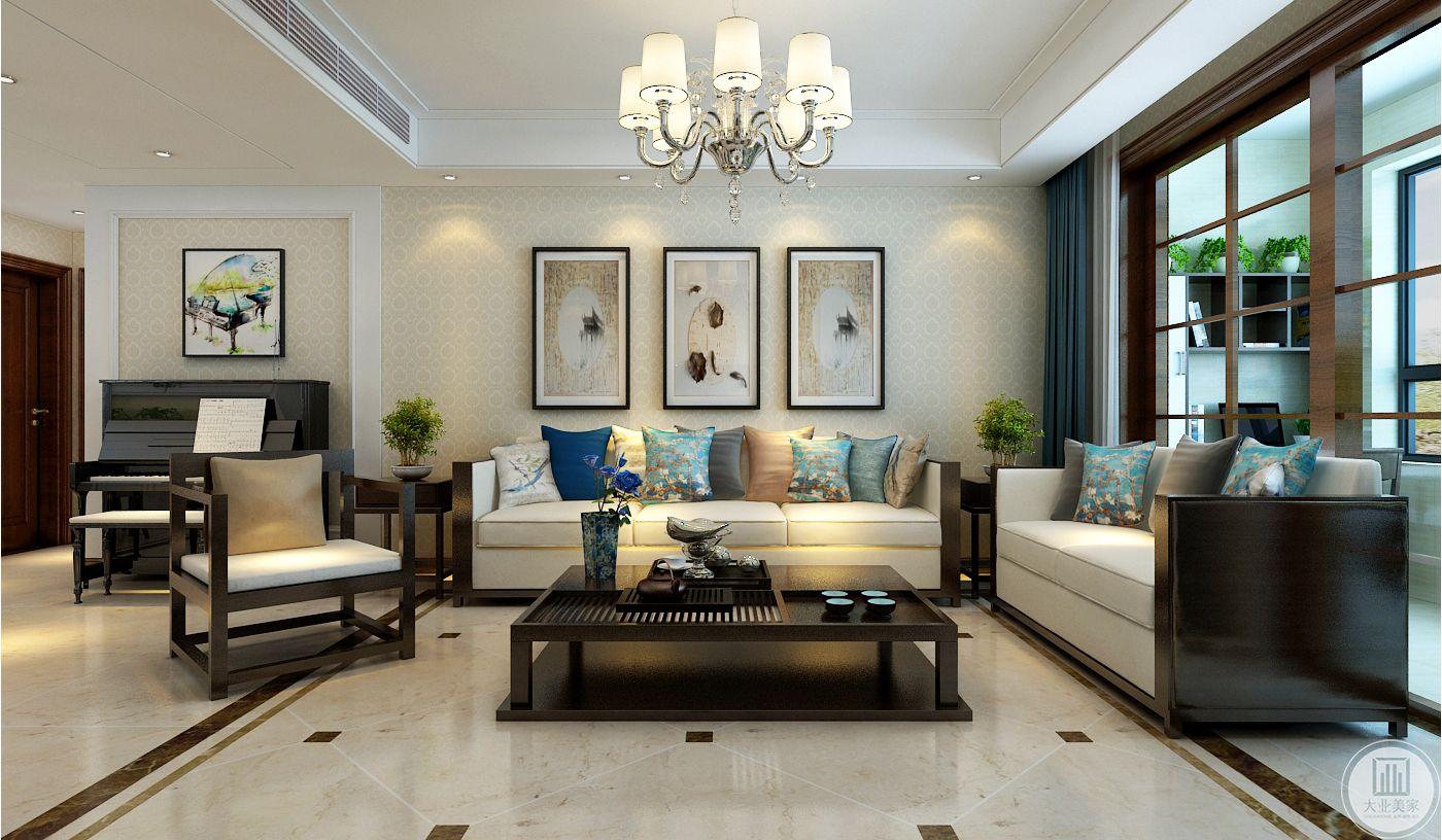 沙发墙跟影视墙不对称,通过墙面造型划分墙面,预留出放钢琴的的位置,方便孩子练琴。
