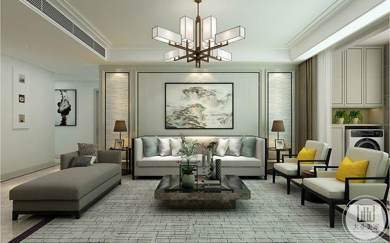 客厅是米白色和深灰色的布艺沙发,茶几是大理石材质的