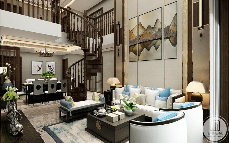 这个角度能够直观地看见楼梯的整体和餐厅