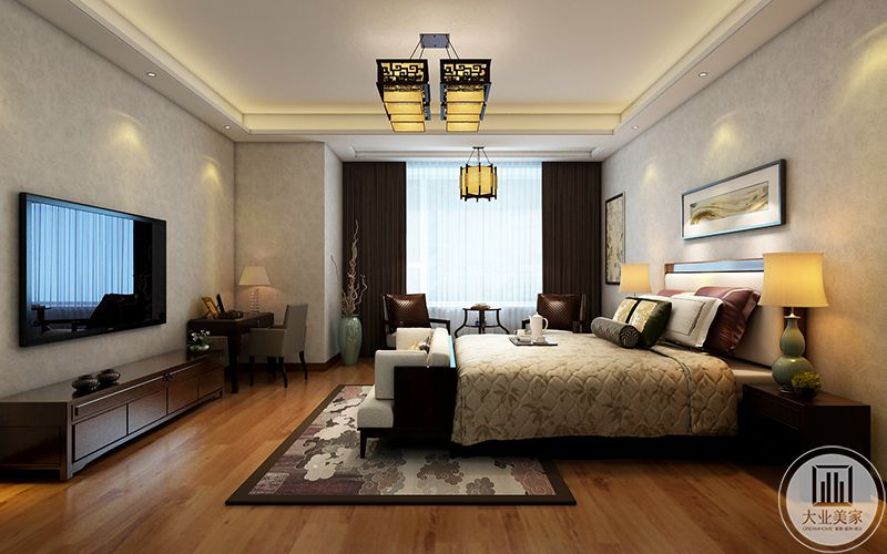 二楼次卧是棕色系的设计,整体大方典雅