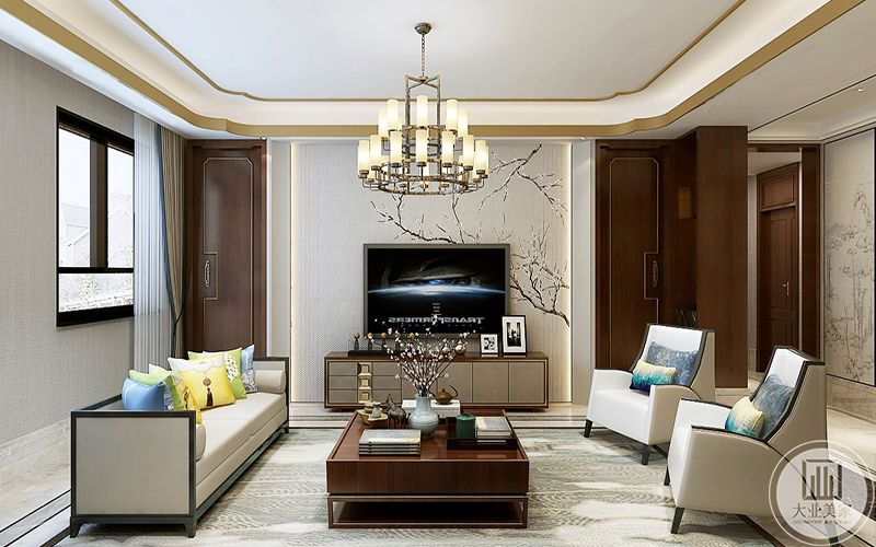 客厅电视背景墙白色的漆面上描着花枝纹样,中式的花样纹饰是整个空间显露出一种风雅气,点面是白色的大理石板,上面铺着同色系的米色地毯,称的上面深木色的方形茶几古朴自然