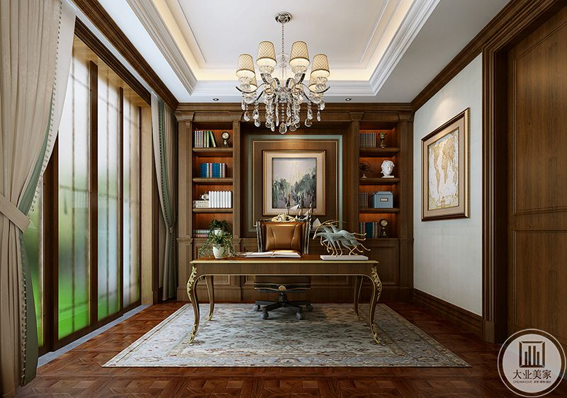 书房地面是带有纹样的木地板,地板上铺设着精致的地毯,复古华丽的花腿书桌和皮质的转椅以及后方的书柜搭配得宜