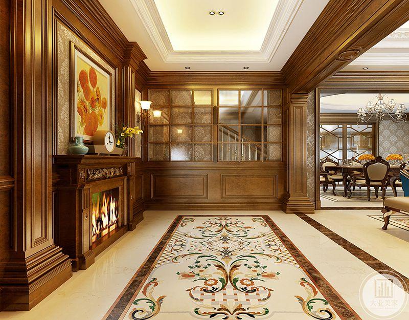 客厅背景墙设置成壁炉的样式,是古典风格的经典运用