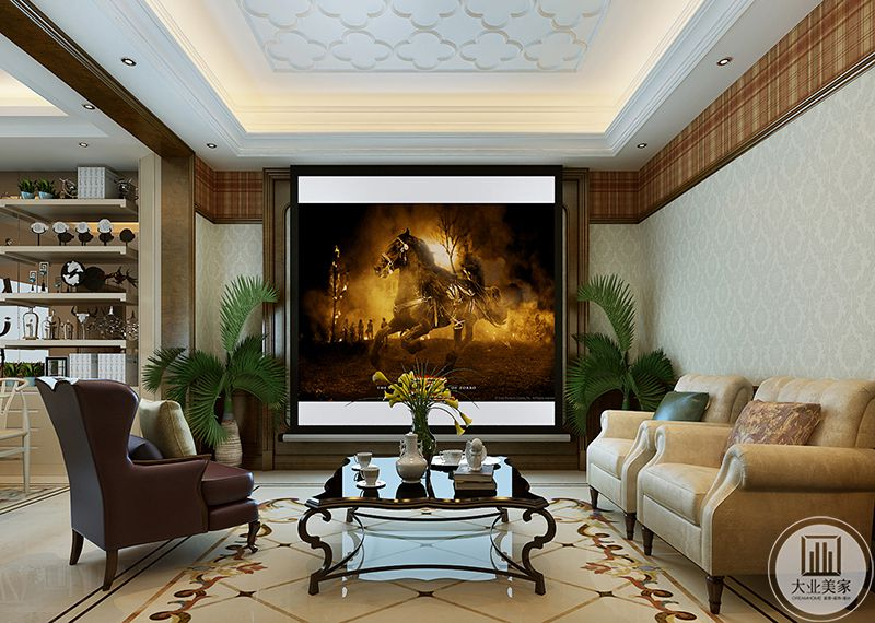 原本是电视墙的位置设置成了投影幕布,茶几上放着茶杯茶壶,在闲暇时刻在这里看一场电影一定让人舒适愉悦