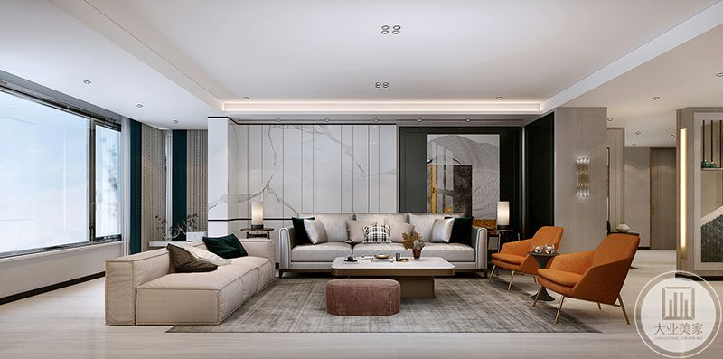 客厅空间较大,在背景墙上的设计点较多,白底黑纹的大理石处于左侧,右侧则是大大的艺术画,将不对称感的美学原理灌输进去